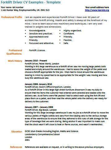 Forklift Driver Resume | berathen.Com