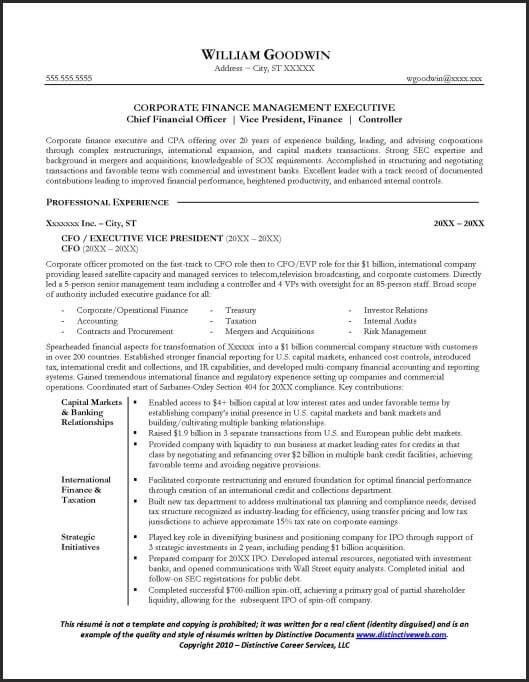 Resume Sample for a CFO