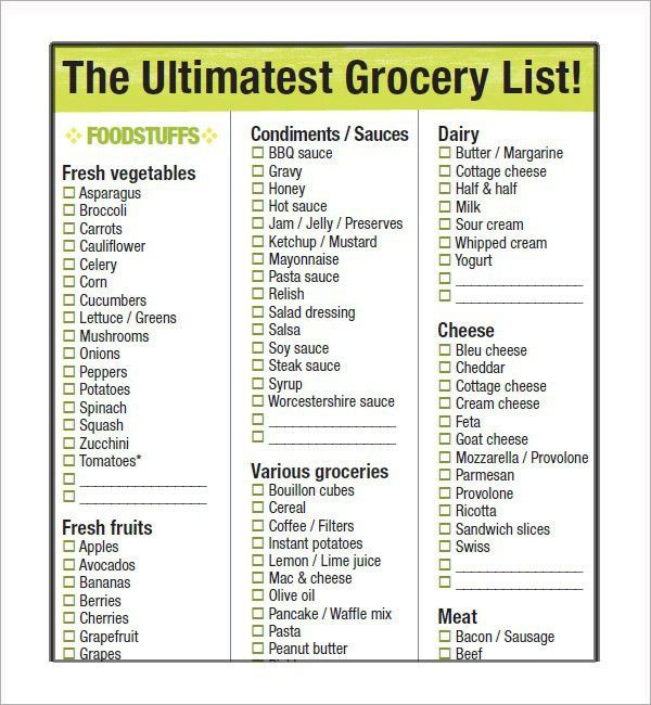 Grocery List Sample, best 20+ healthy grocery lists ideas on ...