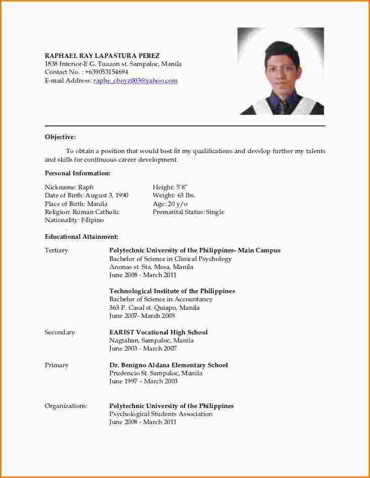8+ resume for job application filipino   paradochart