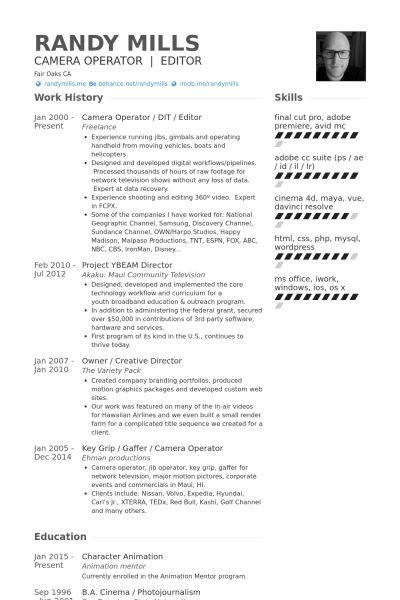 Camera Operator Resume samples - VisualCV resume samples database