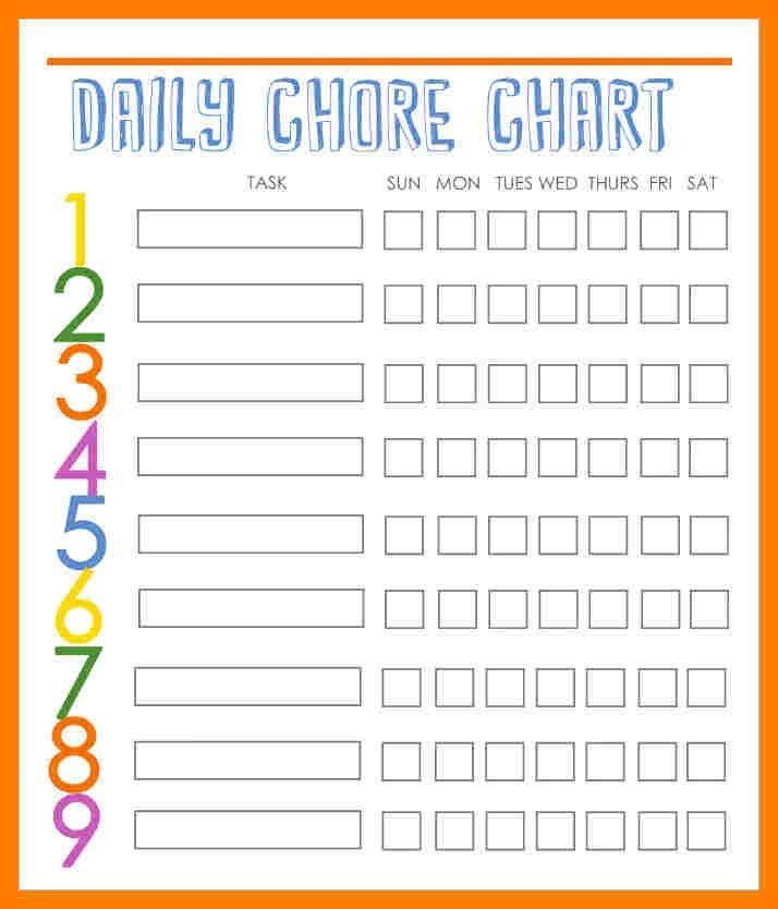 9+ family chore chart template | teller resume