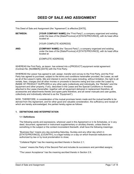 Deed of Sale and Assignment Lease - Template & Sample Form ...