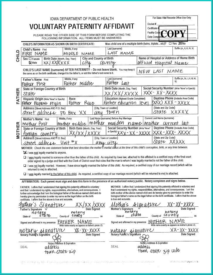 Paternity Affidavit Information for Parents – Child Welfare ...