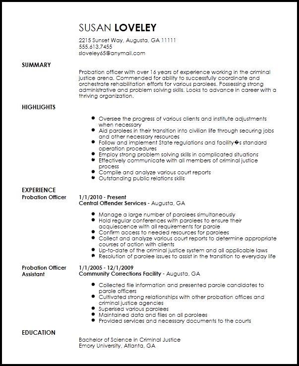 Probation Officer Resume #21573