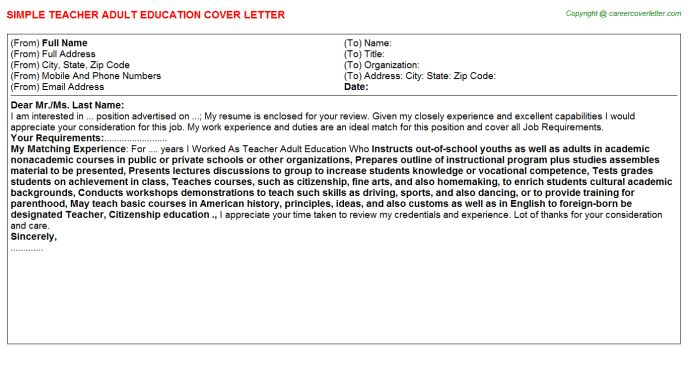 Teacher Adult Education Cover Letter