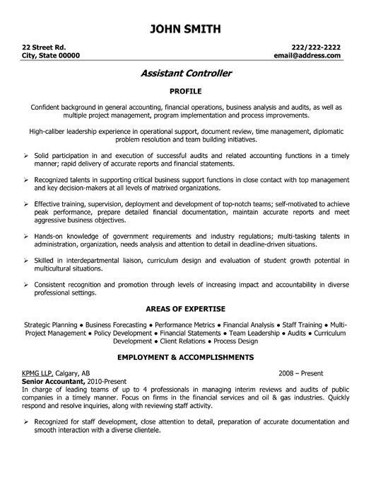 Click Here to Download this Assistant Controller Resume Template ...