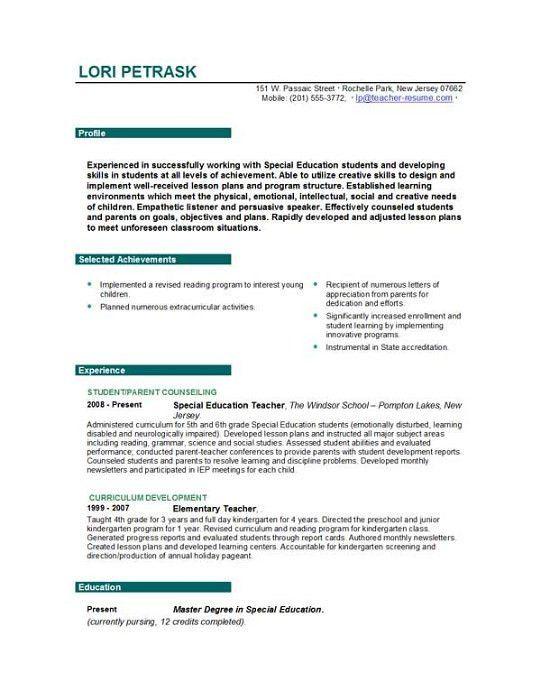 Resume Examples For Social Studies Teachers - Templates