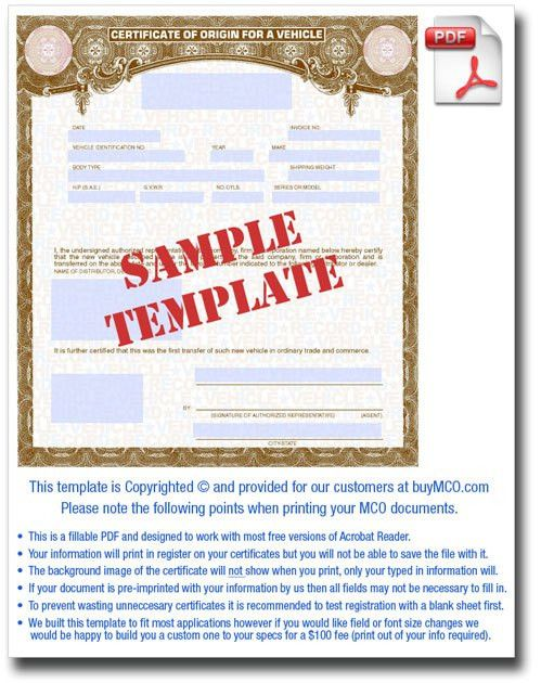 MCO Template • Buy Manufacturer Certificate of Origin's