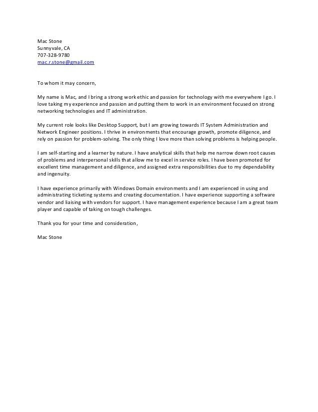 Mac Stone Cover Letter Plain