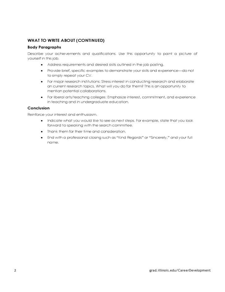 Academic Cover Letter Sample - My Document Blog
