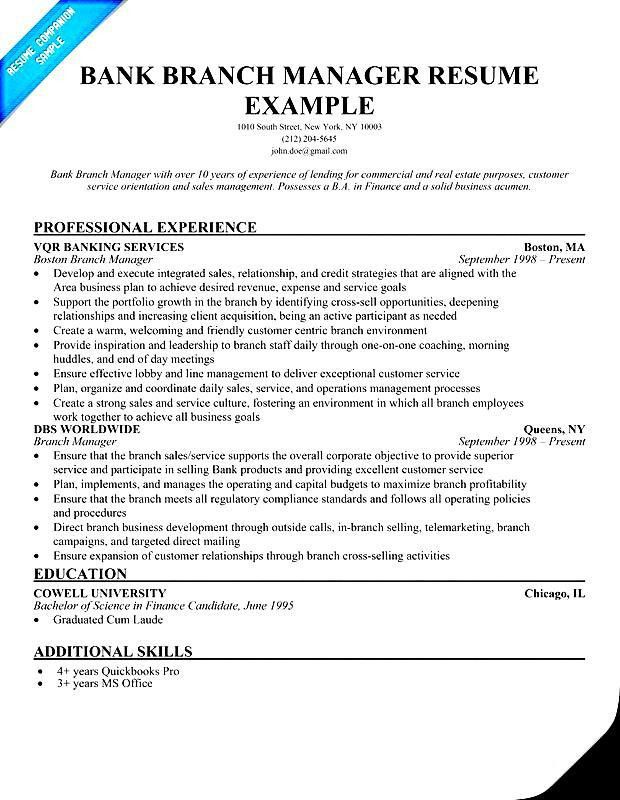 Banking Manager Sample Resume - uxhandy.com