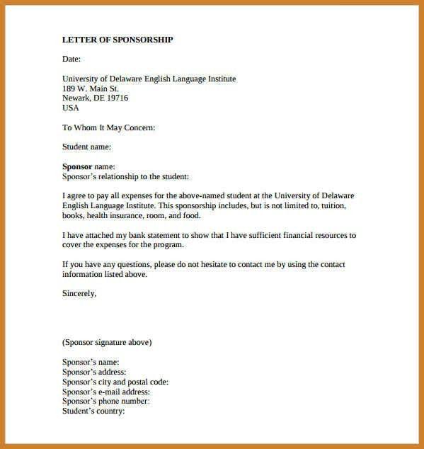 sample sponsorship letter | notary letter