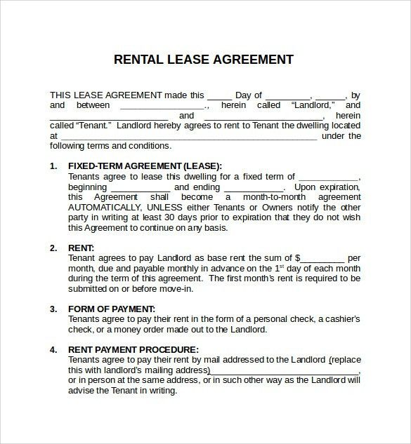 Simple Rental Agreement Format In Word | Create professional ...