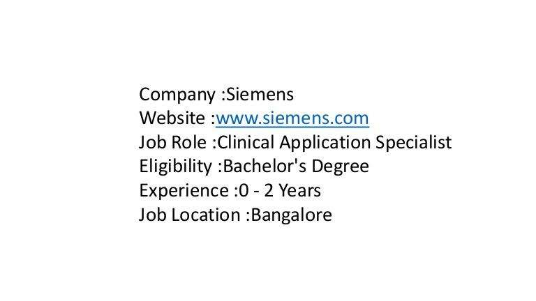 Siemens hiring for Clinical Application Specialist