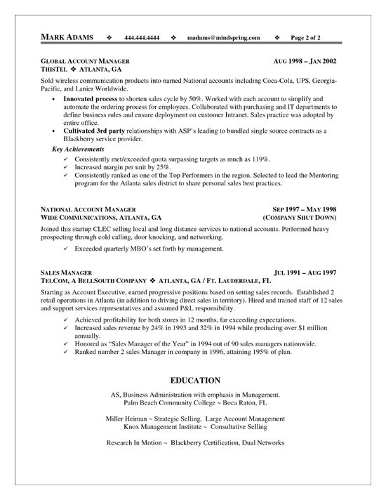 resume example 74 account executive resume sample. traditional 2 ...