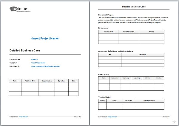 Detailed Business Case Template – Easy Document Creation