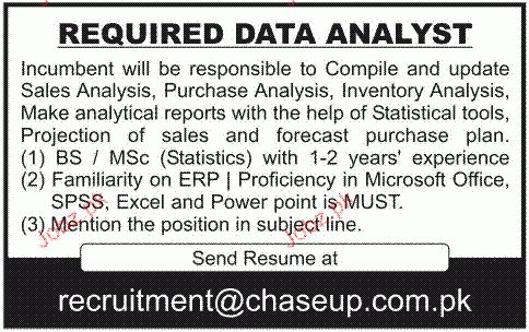 Data Analyst Job Opportunity 2017 Jobs Pakistan Jobz.pk