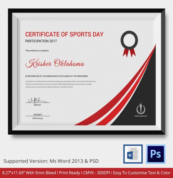Certificate of Sports Day Template - 5+ Word, PSD Format Download ...