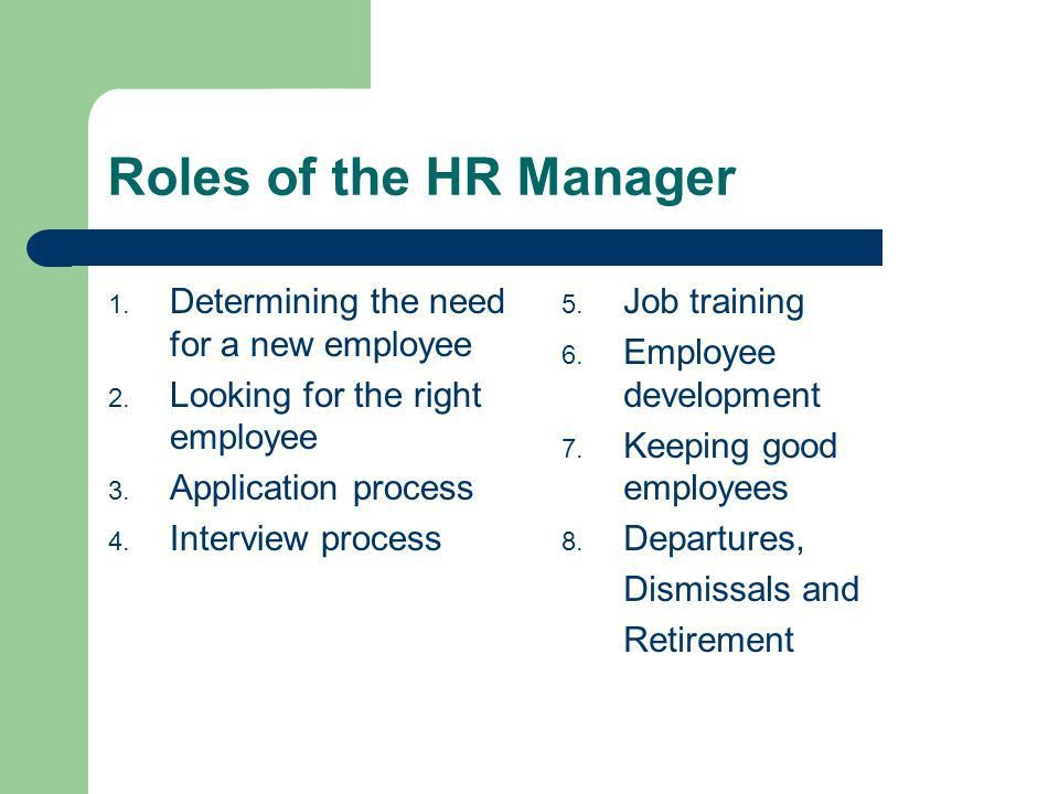 The Role of the Human Resources Manager - ppt video online download