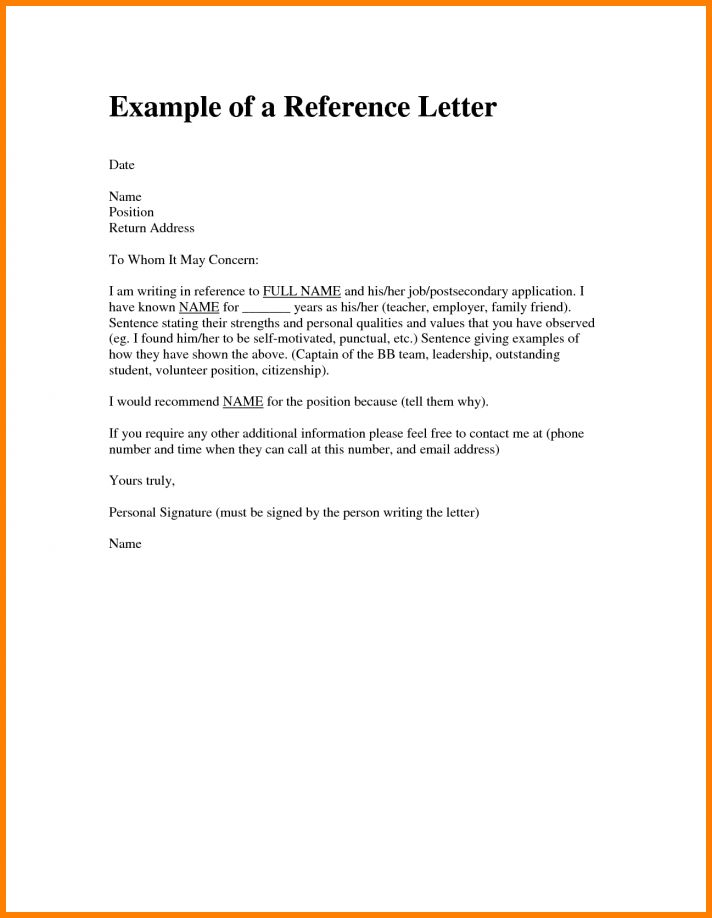 6+ examples of personal reference letters | resume reference