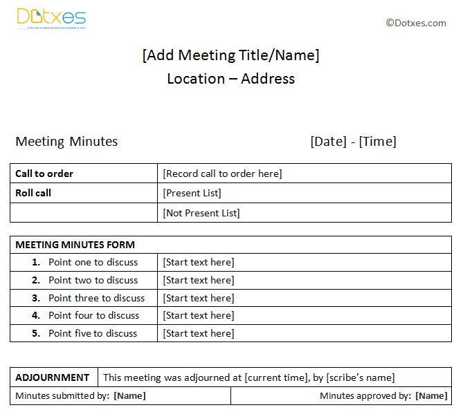 Meeting Minutes Sample (Plain Table Format)   Dotxes  Meeting Minutes Format Word