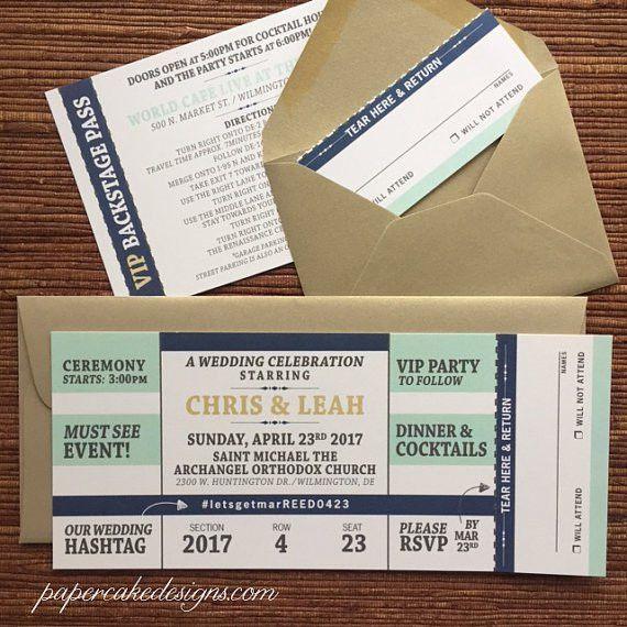 Concert Ticket Invitation with RSVP tear-off stub / Wedding /