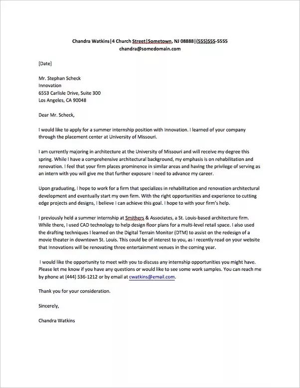 How to Write a Good Letter Asking for an Internship - Quora