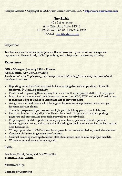 Office Manager Resume Example | Resume examples and Resume objective
