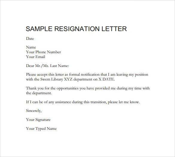 Templates For Letters Of Resignation Resignation Letter Format
