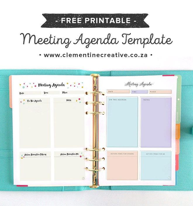 Free Pretty Printable Meeting Agenda Templates | Notes template ...