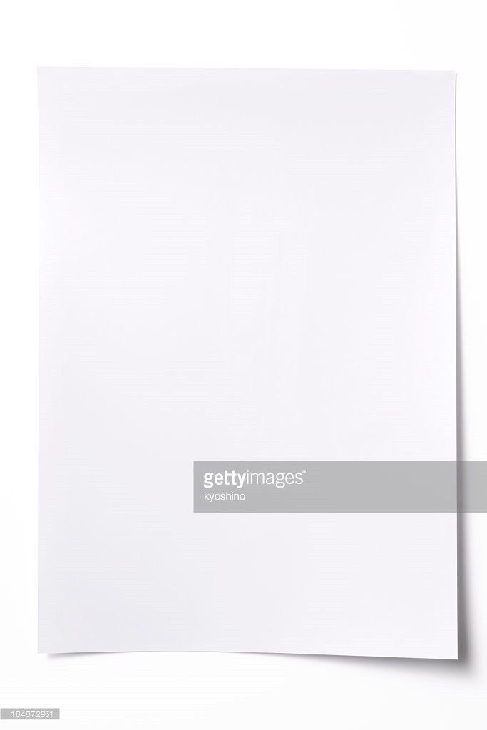 Isolated Shot Of Blank Paper On White Background With Shadow Stock ...