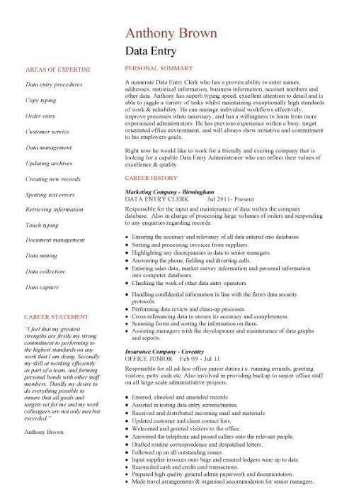 Data Entry Resume Sample | haadyaooverbayresort.com