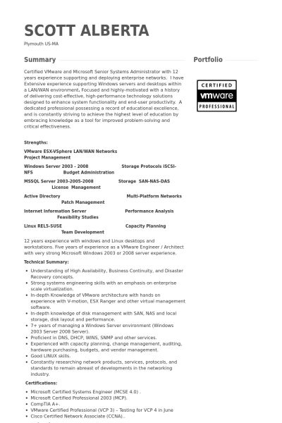 Senior Systems Administrator Resume samples - VisualCV resume ...