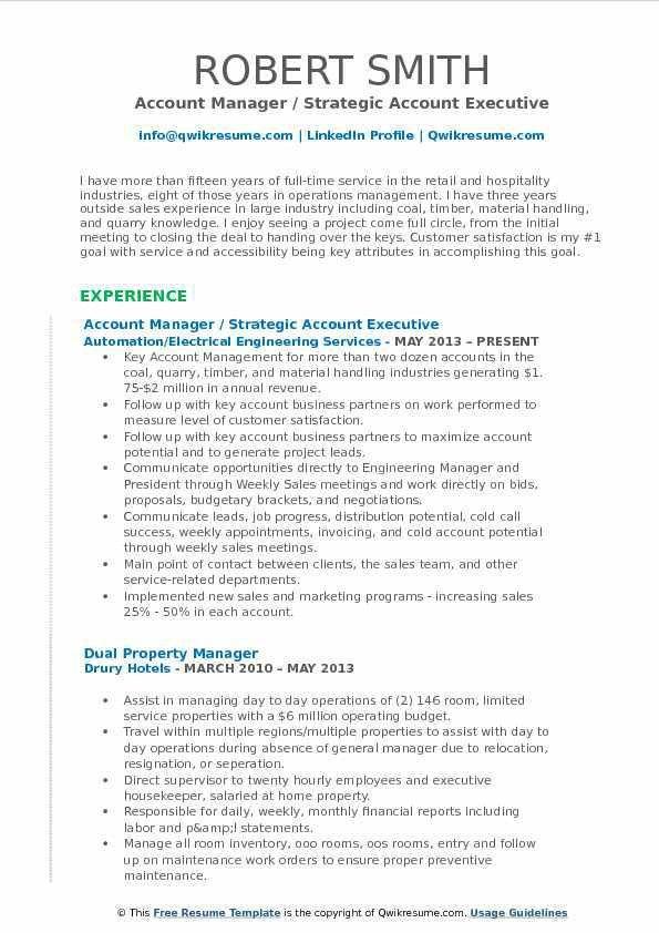 Account Manager Resume Samples | QwikResume