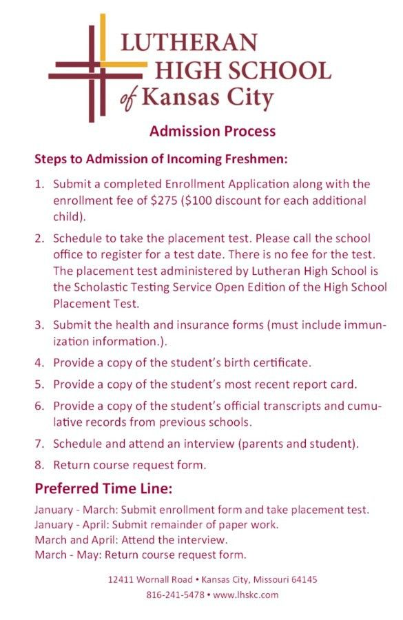 Admission Process - Lutheran High School of Kansas City
