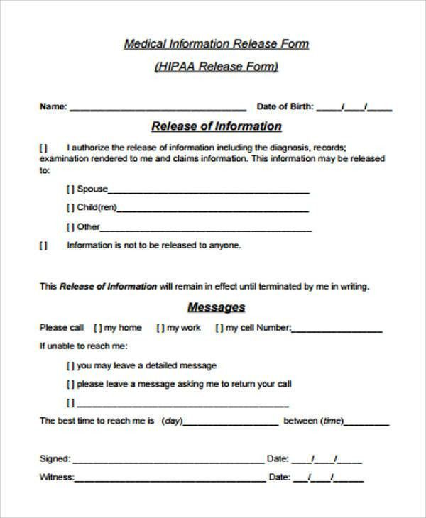 Information Release Form Template Release Of Information Form – Hipaa Release Form