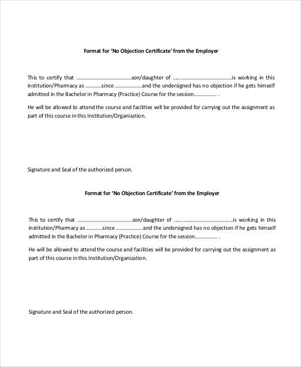 No Objection Letter Format For Employer | The Letter Sample