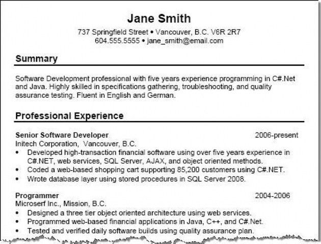 Sample Resume Summary – Resume Examples