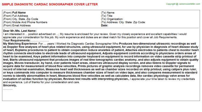 Diagnostic Cardiac Sonographer Cover Letter