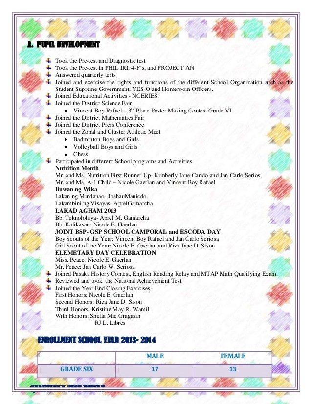 Accomplishment report: Grade six