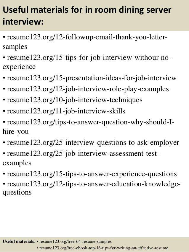 fine dining resume