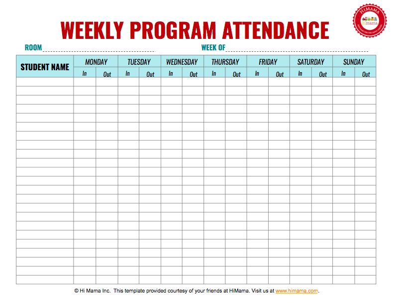 HiMama - Daycare Sign In Sheet Template: Child Care Attendance Form