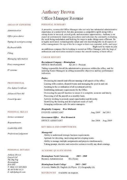 Sample Resume Of Office Manager - Gallery Creawizard.com