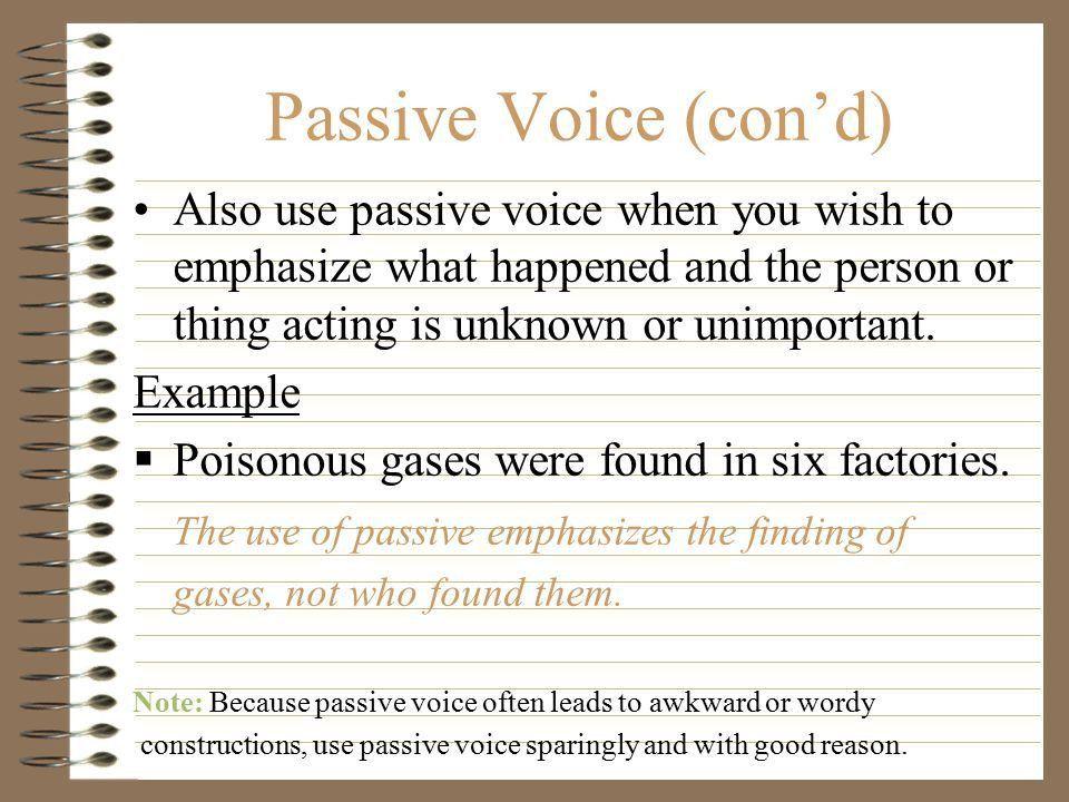 THE PASSIVE VOICE Slides 1 – 6 taken from learningcenter.fiu.edu ...