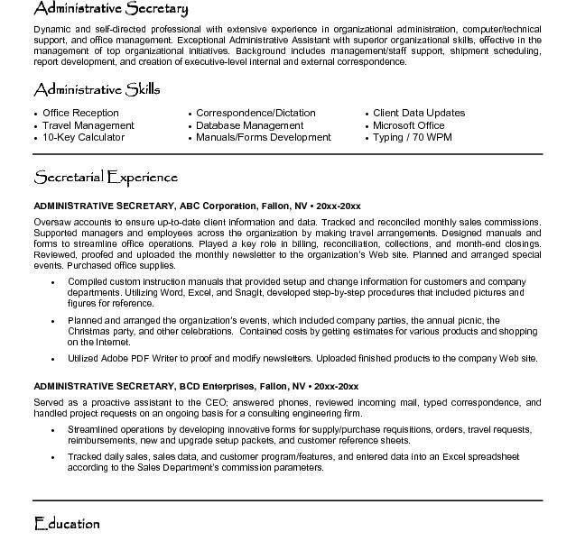 Secretary Resume - Resume Example
