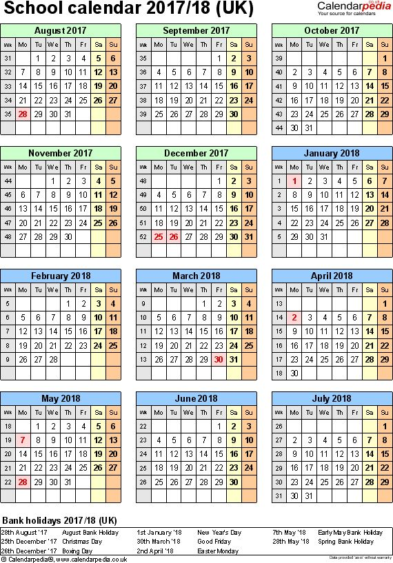School calendars 2017/2018 as free printable Word templates
