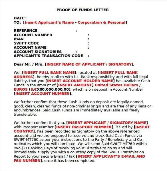 Sample Proof of Funds Letter - 7 Download Free Documents in PDF , Word