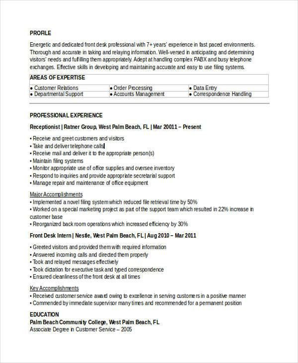 10+ Receptionist Resumes - Free Sample, Example Format Download ...