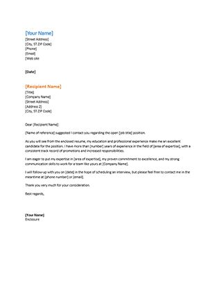 Application letter for a cv